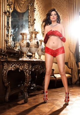 Lace bodyshort red Queen size